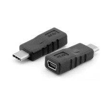 Mini USB Min-B Female to USB 3.1 Type-C Male Adapter (Black)