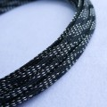 Deluxe High Density Weave Black/Silver Cable Sleeve (4mm)