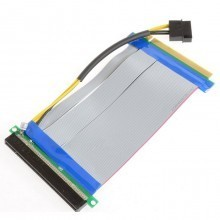 PCI-Express PCI-E 16X to 16X Riser Card Flexible Ribbon Extender Cable w/Molex + Solid Capacitor