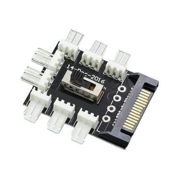 SATA Power Distribution PCB 8-Way 3-Pin Block Fan Hub Power Splitter