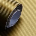 Gold Carbon Fibre Sticker 3D Matt Dry Vinyl with Texture