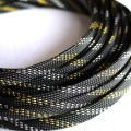 Deluxe High Density Weave Black/Gold/Silver Cable Sleeve (12mm)