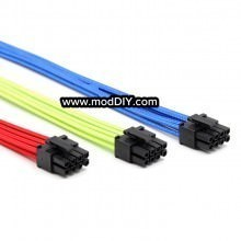 Ultra Soft RGB Cotton Single Sleeved Power Extension Cable 8 Pin PCIE