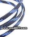 Deluxe High Density Weave Black/Blue Cable Sleeve (18mm)
