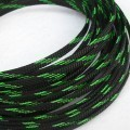Deluxe High Density Weave Black/UV-Green Cable Sleeve (16mm)