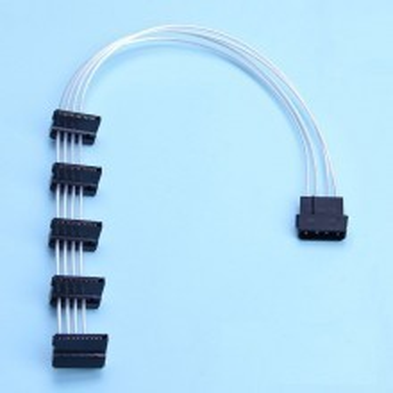 Premium Silver Wire SATA Power Cable (40CM, 1x Molex to 5x SATA)