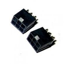 6-Pin Graphics Card PCIe Male Header Connector - 90% Angled - Black